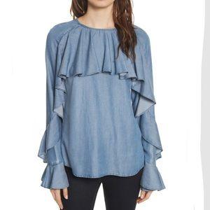 Veronica Beard Mia ruffle blouse NWT M